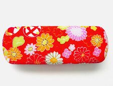Japanese  Red Floral Print Eyeglasses/Sunglasses Clam Shell Hard Case