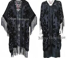 Black Kimono Fringe Jacket Opera Coat Silk Burnout Velvet Maya Matazaro