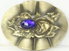 Large Victorian Antique Rose & Cobalt Blue Glass Sash Pin