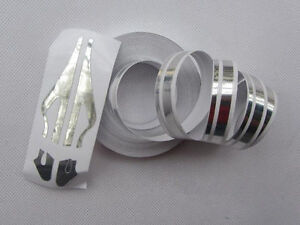 Stripes & Lines Auto Car Decal Strips Sticker Applique Silver 9800 x 12 mm