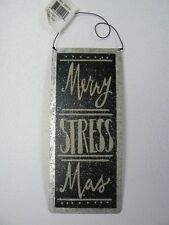 Primitives by Kathy Christmas Merry StressMas Tin Wall Hanging Sign NEW P24916