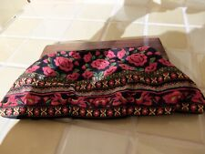 MULTI COLOUR ~ EMBROIDERED BOHO WOOD TOP FRAME SUMMER CLUTCH BAG ~ NEW