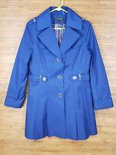 Via Spiga Blue Trench Coat Womens Size Medium M EUC
