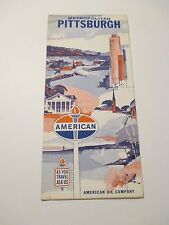 Vintage AMERICAN Pittsburgh PA Oil Gas Station Road Map