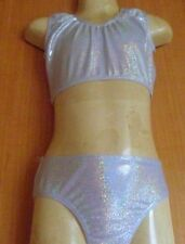 SILVER HOLOGRAM /LYCRA/CROP TOP AND PANT/4/5/FREESTYLE/COSTUME