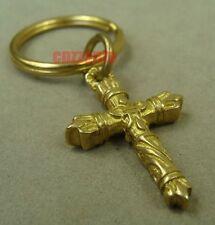 Solid Brass Christian Cross Punk Biker Key chain ring necklace pendant H008