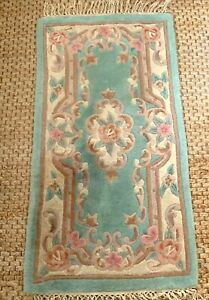 Dragon Rug Collection Chinese 100% Wool Rug 122cm x 61cm Green Floral Handmade
