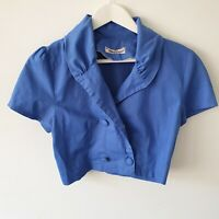 Vtg 80s Crop Blue Linen Blend Short Sleeve Button Up Top/Jacket S-M Adjustable