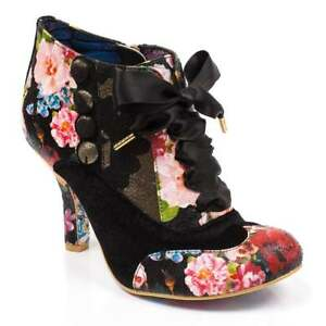 Irregular Choice Blair Elfglow Womens Lace Ankle Boots Black Metallic Floral