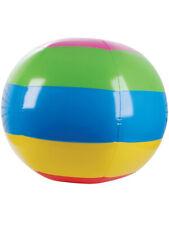 "48"" Inflatable Rainbow Striped Hawaiian Luau Beach Ball Toy Decoration"