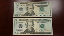 Lot of 2 Two $20 US Notes Bills 2009 Star Note 2013 Low Number $40.00 Face Value