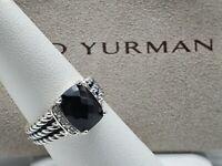 David Yurman Sterling Silver Petite Wheaton With Black Onyx & Diamonds ring Sz 7