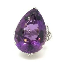 68.87 ct Pear Shaped Amethyst and Diamond Cocktail Ring in Platinum - HM1724SE