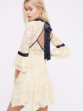 New Free People Gilded Lace Dress Ivory  Bell Sleeve Sz L