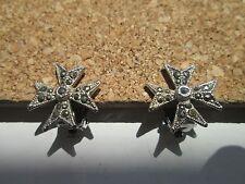 Vintage White Metal Silver & Marcasite Cross ClipOn Earrings Excellent Condition