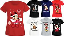 Womens Ladies Cute Minnie Mouse Gingerbread Man Christmas Festive T-Shirts Top
