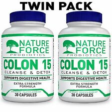 2 х Nature Force Colon 15 Day Cleanser & Detox for Weight Loss 30 Caps USA made