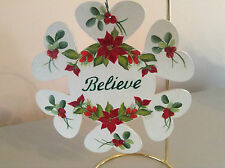 Believe Red Poinsettias With Holly And Berries Hand Painted Christmas Ornament