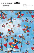 Gift Wrap Present Wrapping Paper Funny Cute Dog Super Hero With Matching Tags
