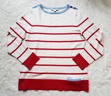 Pendleton Sailor Striped Sweater Silk Cotton Sweater White Red sz PM NWOT