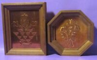 """ART HAND HAMMERED COPPER PENNY ART FRAMED IN WOOD SIZE 5"""" X6"""" & 5"""" X 5"""" PAIR"""