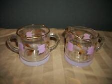 MCM LAVENDER GILT HP FLORAL GLASS CREAMER SUGAR GAY FAD VINTAGE 50s KITCSH