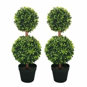 Artificial Double Ball Tree 60cm- set of 2 w/ weighted Pot Home Decoration Plant