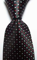 New Classic Checks Black White Red JACQUARD WOVEN 100% Silk Men's Tie Necktie
