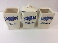 Zucker, Tee, &  Kaffee Blue & White Porcelain Canister Set Sugar Tea Coffee