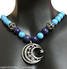 Diamond ,Turquoise & lapis Beads 925 Silver Star & Moon Necklace