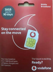Vodafone 30GB Data Sim - 90 Day - Tablets, Dongles, Wi-fi Device. Fast Free Post
