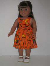 """Owls, Bats, Moon/Branches Halloween Sundress for 18"""" Doll Clothes American Girl"""