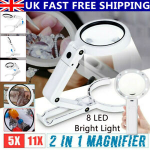 5X 11X Magnifying Glass With Light 8 LED Magnifier Foldable Stand Desk Dimmable