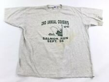 Vintage 90s T Shirt Adult XXL Salmon Fishing Graphic Russell Athletic 50/50 USA