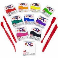 Modelado de arcilla polimérica Fimo Soft Principiantes Set -10 X 57g + Herramientas de Modelado de arcilla