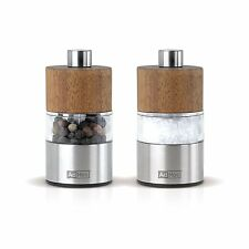 AdHoc David Acacia Wood & Stainless Steel Mini Salt & Pepper Mill Set