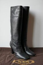 AUTHENTIC TOD'S BLACK LEATHER KNEE HIGH BOOTS WITH RUBBER BOTTOM - SIZE 5
