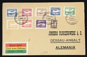 BOLIVIA 1930 -AIRMAIL LABEL - PM - LA PAZ - TO GERMANY -JUNKERS-FLUGZEUGWERK -VF