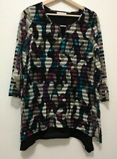 Dana Buchman, Women Long Sleeve Purple Blue Stripe Semi Sheer Blouse, Medium