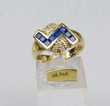 Ring aus 14 K =585er Gold mit Saphire und Zirkonia, Gr. 54/Ø 17,2 mm  (da4740)