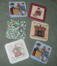 "Pre-Loved Set Of 6 Longaberger Cork Coasters ""Christmas Themed"" Free Shipping"