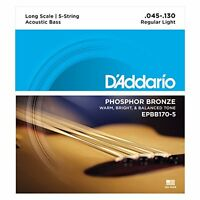 D'Addario EPBB170-5 Phosphor Bronze Acoustic Bass 5-Strings Long Scale, 45-130