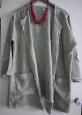 856e2878f31 Gorgeous Italian Linen jacket pale green OS lagenlook layering piece 12 14  16