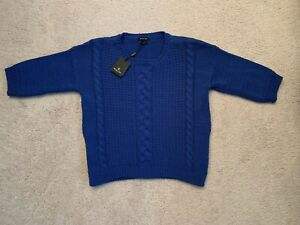 Massimo Dutti Womens Blue Sweater Size S Short Sleeve  Made in Italy NWT110 Euro