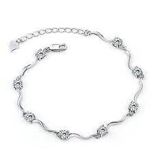 Ladies Swarovski Element White Gold Plated Crystal Bracelets With Shiny Cubic Zi