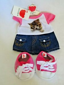 Chad Valley Design A Bear Outfit Cat T-shirt, Denim Skirt, Lace Up Pink Boots