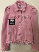 Zara Kiss Pink Puff Sleeve Denim Jacket Distressed Small Uk S 10 8 Y2K