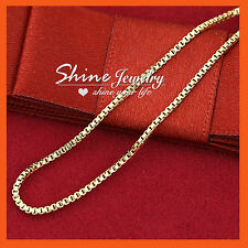 9K PLAIN YELLOW GOLD FILLED LADY GIRLS KIDS MENS BOX CHAIN NECKLACE for PENDANT