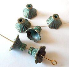 10pcs-13mmX9mm Patina green tone brass flower beads caps