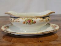 NORITAKE IMPERIAL CHINA JAPAN - GRAVY BOAT W/ ATTACHED PLATE - ROSE W/GOLD TRIM